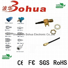 SMA female  PCB mount to W.FL female right angle with 100mm 0.81mm(D) cable