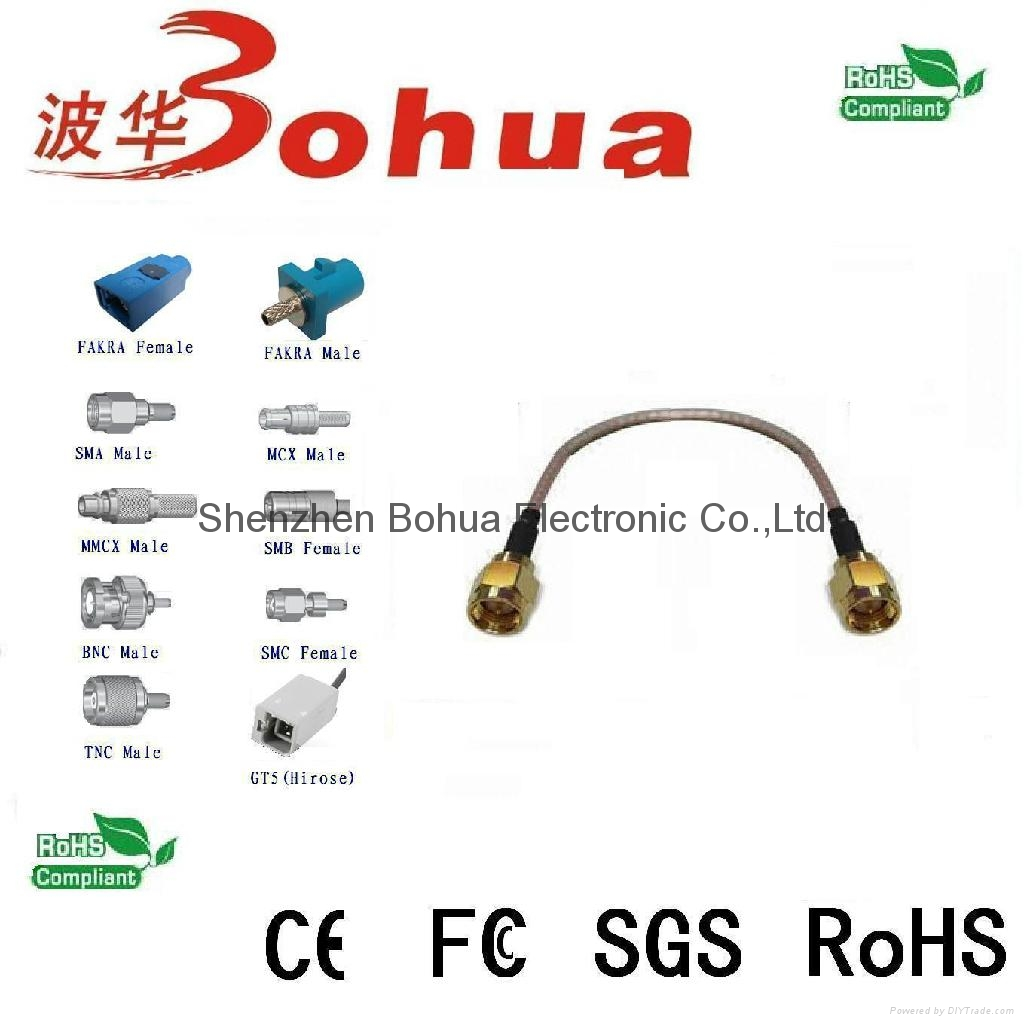 SMA male straight to SMA male straight with 200mm length RG178 cable 1