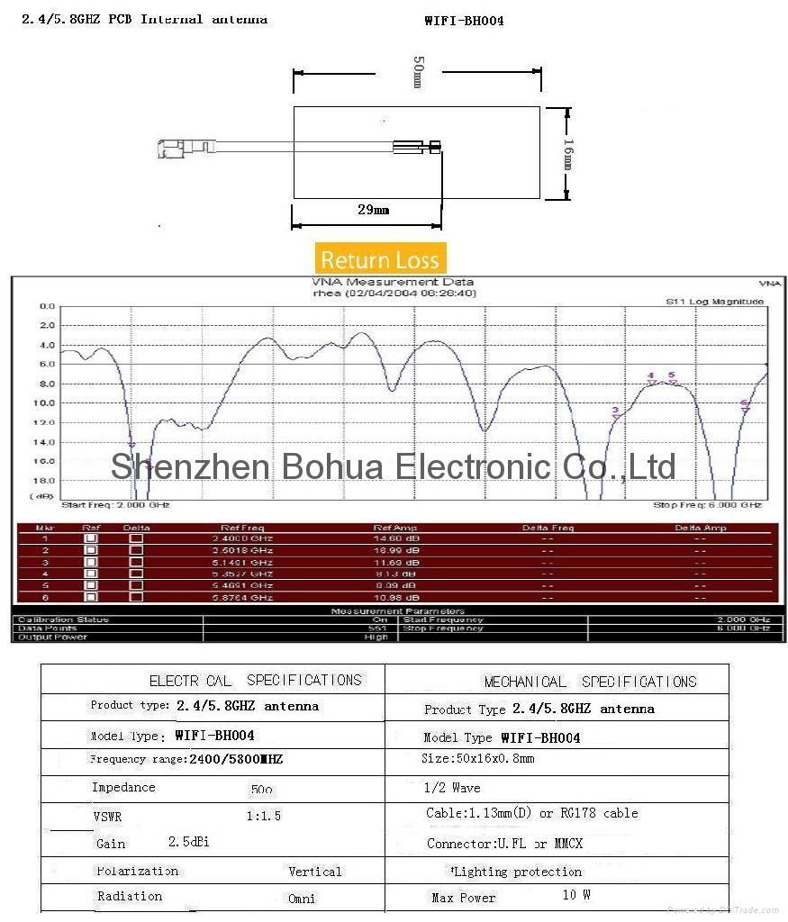WIFI-BH004---2.0dBi 2.4G/5.8G dual band PCB antenna 2