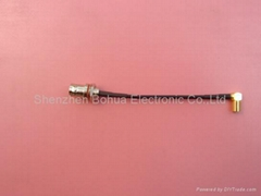 BNC female straight bulkhead to SMB female right angle with RG174 cable
