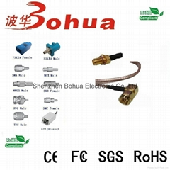 SMA male right angle to SMA female bulkhead with SF141J cable