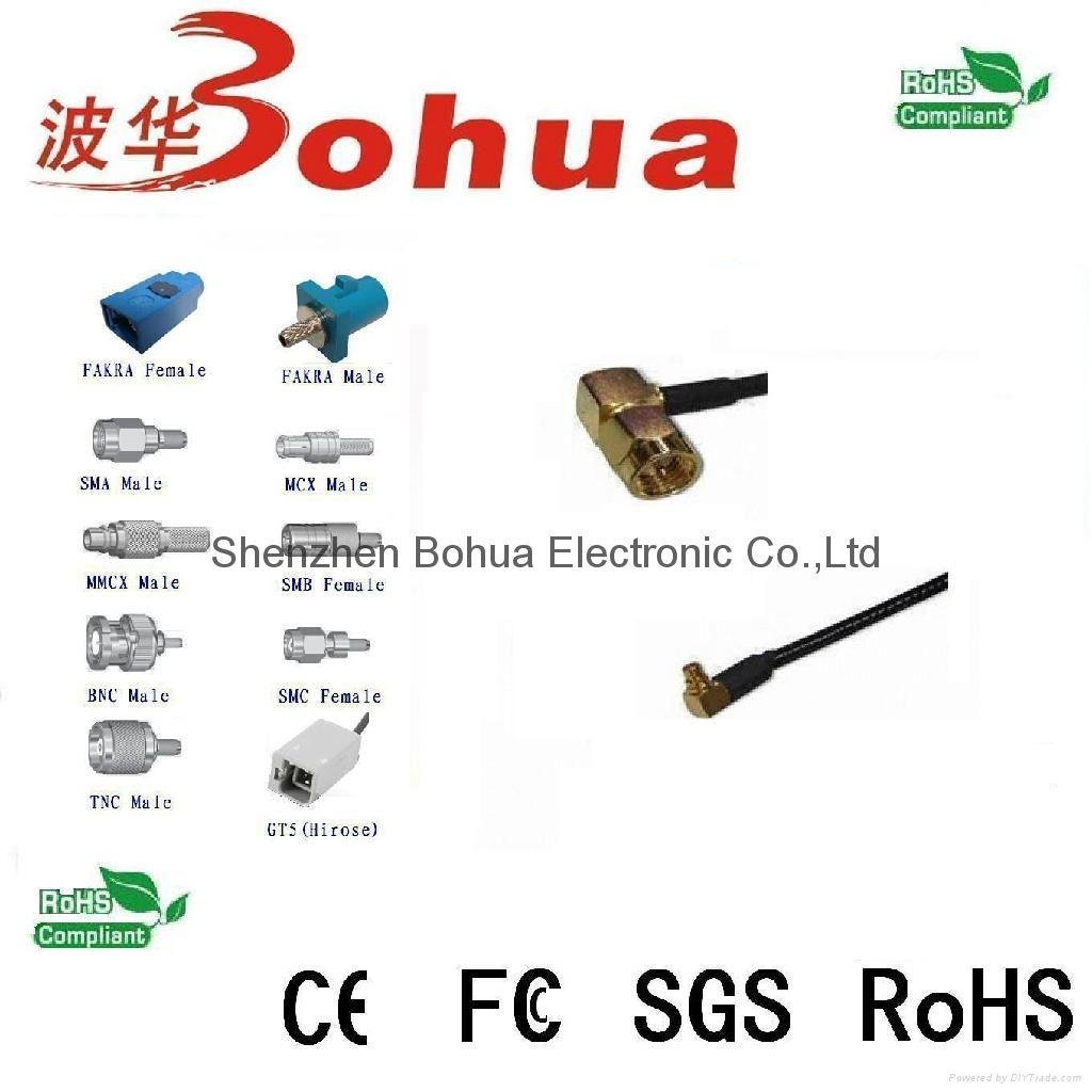 SMA male right agnle to MMCX  male right angle with 10-1000mm LMR100 cable 1