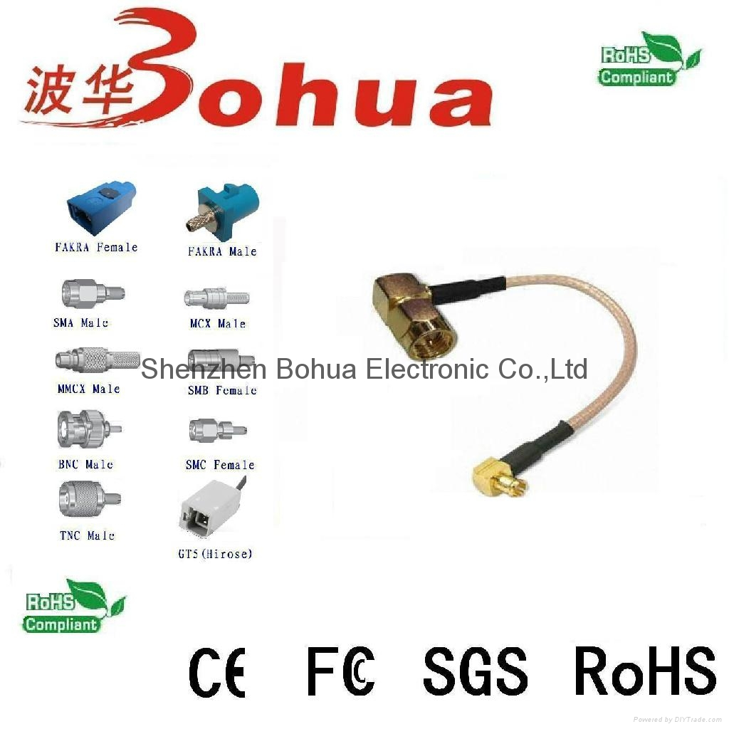 SMA male right angle to MCX male right angle with 200mm length SF141 cable