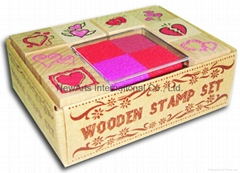 Valentine wooden rubber stamp set