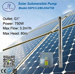 750W 3in Centrifugal Submersible Solar DC Pump for Iriigation System