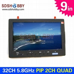 9in FPV PIP 2CH QUAD LCD Monitor Built-in Dual 5.8GHz 32CH Receiver #SKY901