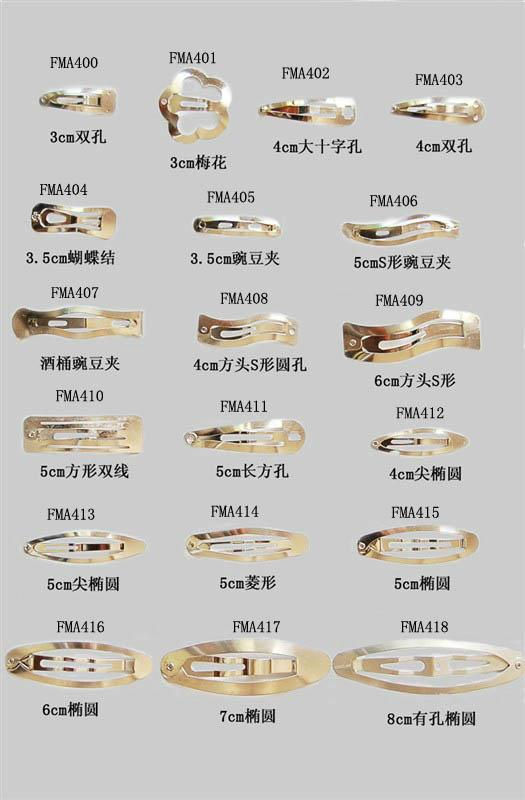 various sizes and styles of classical plain metal snap clips as hair accessiries 3