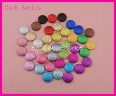 20mm Round Glitter Covered Button Beads with flat back Bling bling