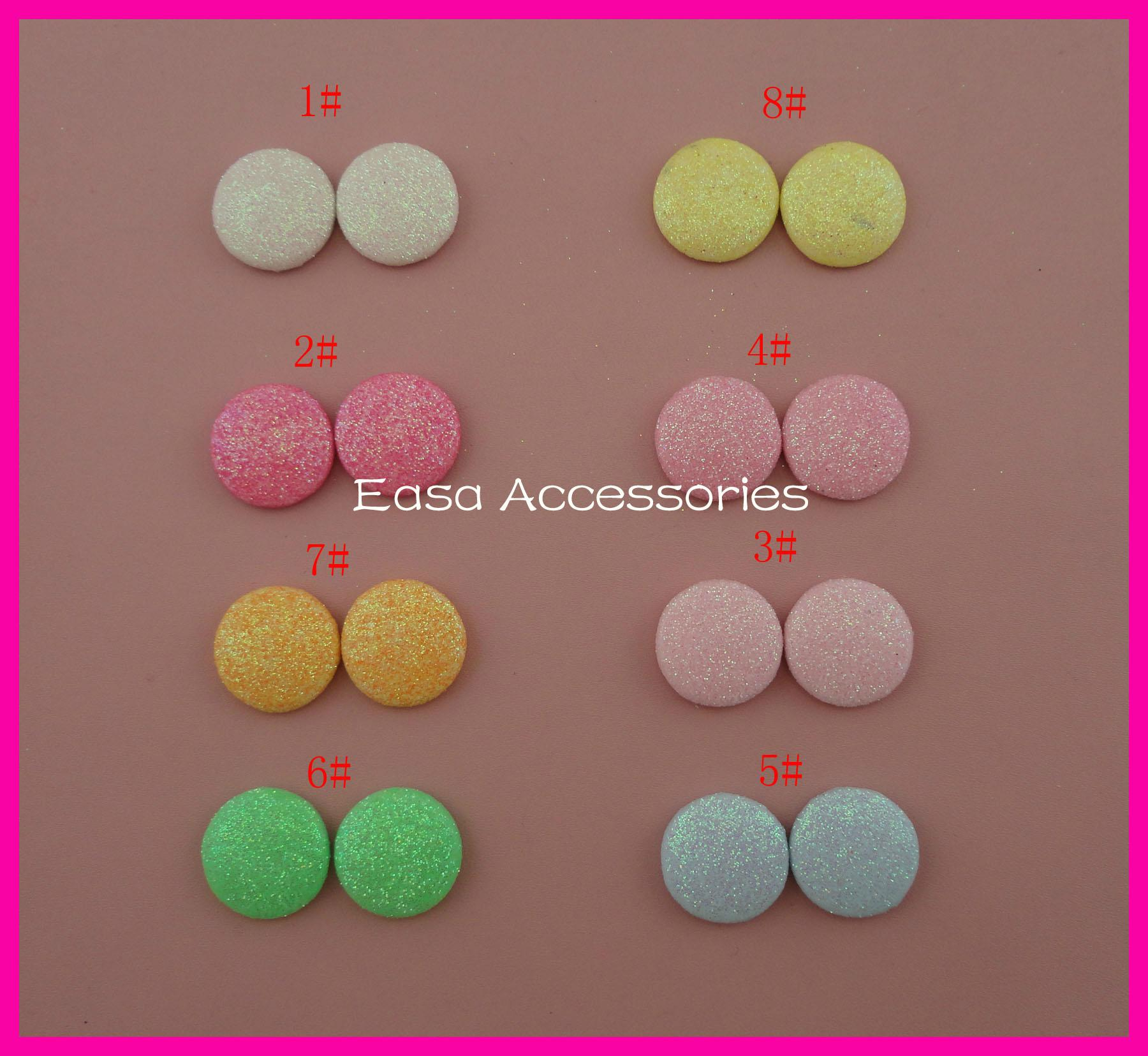 20mm Round Glitter Covered Button Beads with flat back Bling bling 4