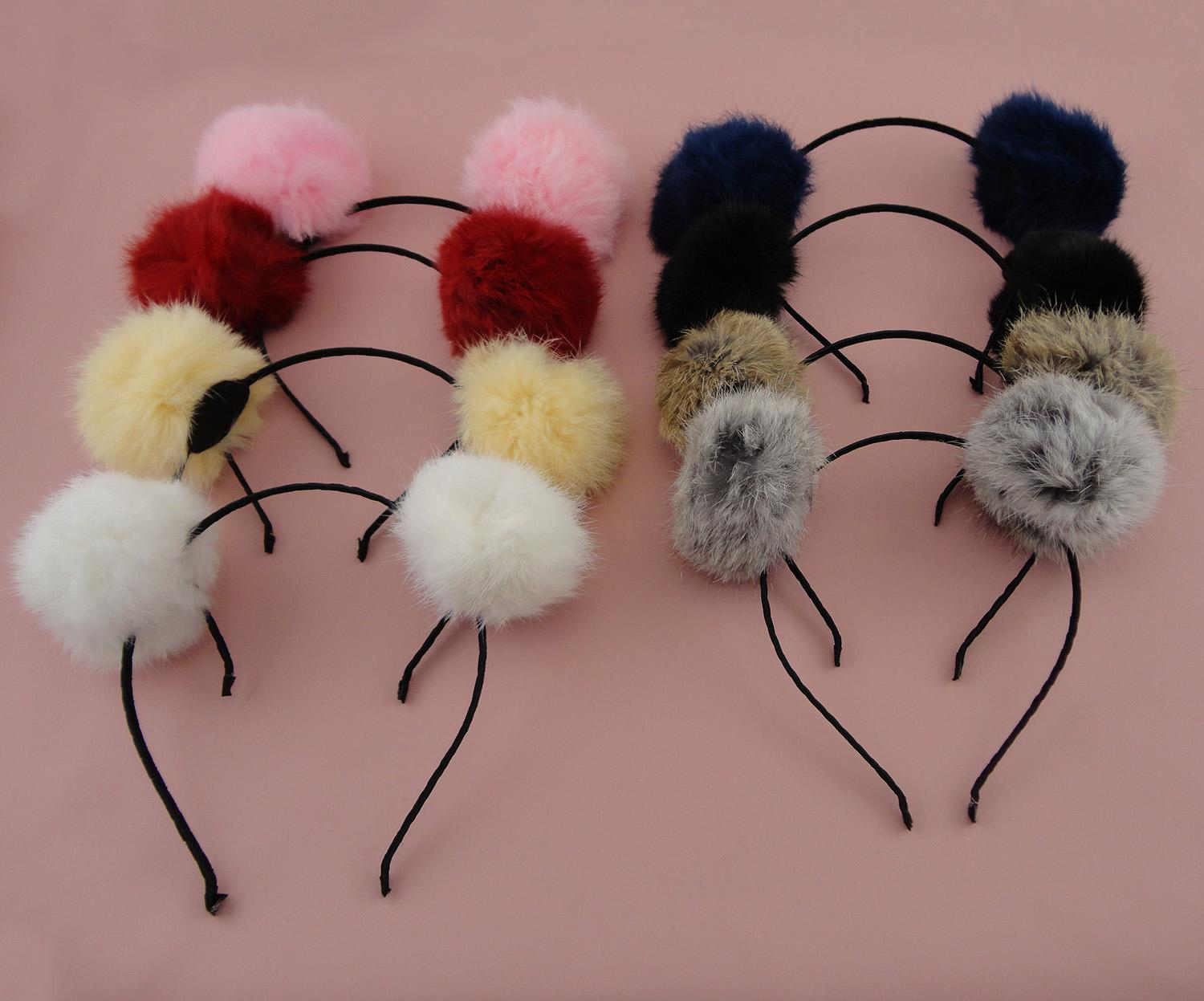 Black Satin Wrapped Metal hair headbands with 8.0cm Real Rabbit Fur Pompoms Ball 2