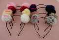 Black Satin Wrapped Metal hair headbands with 8.0cm Real Rabbit Fur Pompoms Ball 4