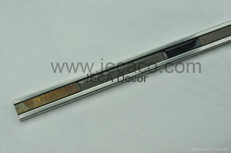 不锈钢配石材玻璃马赛克装饰条,瓷砖修边线 2
