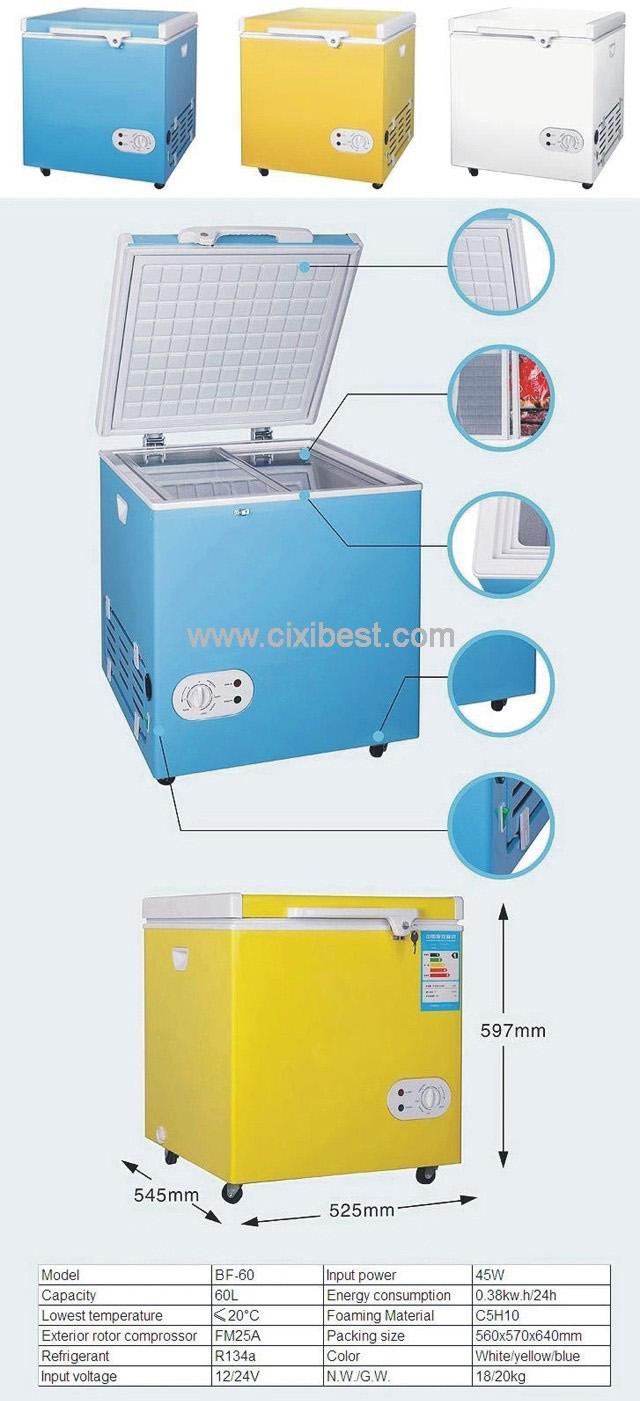 60L DC Solar Deep Freezer Chest Freezer Fridge BF-60 11