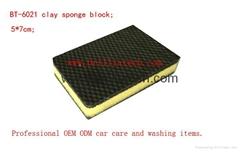 专业洗车火山泥海绵擦耐磨耐拉方形清洁去污擦汽车美容用品