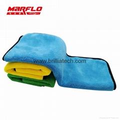 耐用超厚豪華車超細纖維清潔布洗車毛巾顏色隨機汽車配件