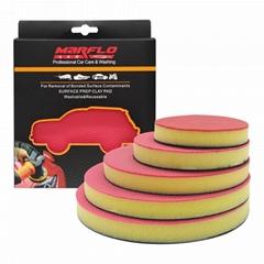 汽車清潔美容手動電動海綿拋光自粘平面圓盤祛漆面氧化層樹膠水泥
