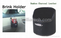 Brilliatech Car Accessories Bamboo Charocoal Leather Drink Holder