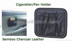 Brilliatech Car Accessories Bamboo Charocoal Leather  Car Holder Pocket