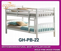 white bunk bed with slat head structure