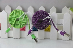 Nylon flat fabric braided cable for iPhone5