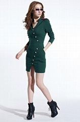 中大碼潮性感修身顯瘦女裝氣質長袖連衣裙6926 肩章