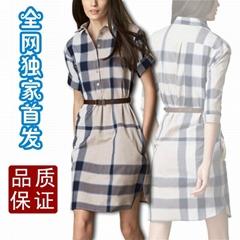 欧美大牌春夏新款衬衫式中袖连衣裙 条纹宽松式休闲大码裙