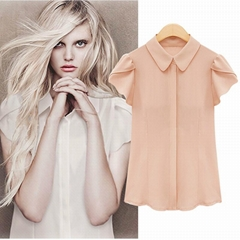 夏装新款韩版大码女装白色短袖雪纺衫女修身显瘦半袖衬衫上衣