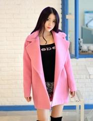 新款名媛粉色中長款毛呢外套 寬鬆女裝毛呢大衣外套