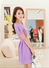 韓版女女裝泡泡袖短袖針織太空棉連衣裙