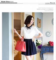 紡連衣裙短袖春夏韓版大碼時尚職業女裝翻領短裙修身OL