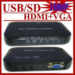 Full 1080P HD media player with VGA,SD/MMC Card reader /USB HOST Function
