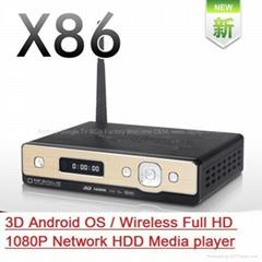 Android OS,3D Blue-ray 1080P SATA Network Media Player,HDMI1.4,WiFi,Realtek1186