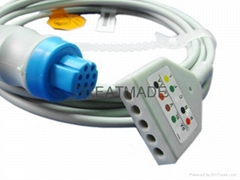 Datex-Ohmeda 5-Lead Trunk Cable with DIN Yoke