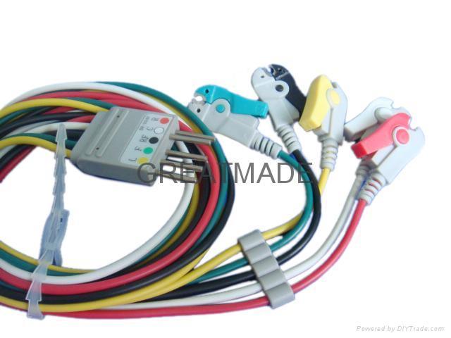 Nihon Kohden BR-004P 5-lead grabber  Leadwire  1