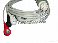 Mennen one piece cable with 3-lead , AHA ,Snap leadwire