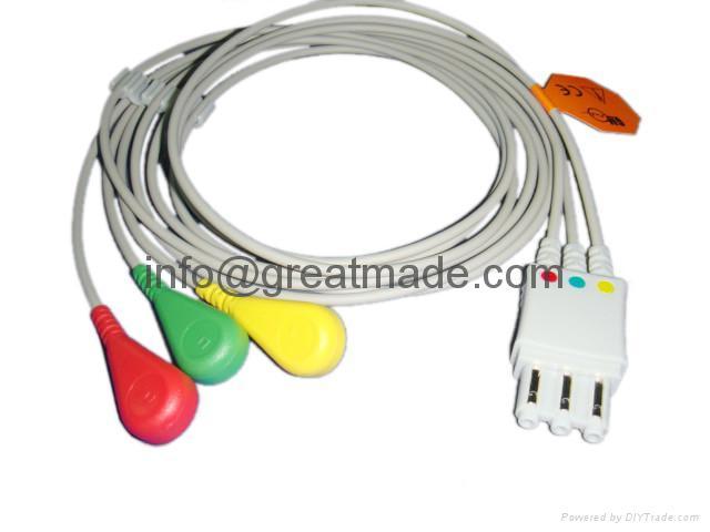 HP M1974A  3-lead  IEC D Snap  ECG  leadwire    1