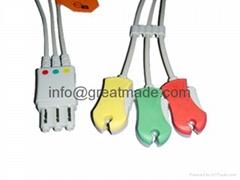 HP M1972A  3-lead  IEC grabber  ECG  leadwire