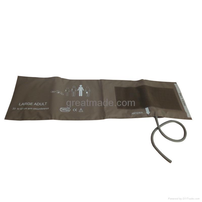 Large Adult soft single Tube Nibp Cuff, 33-47cm Arm Circumference ,Coffee 1