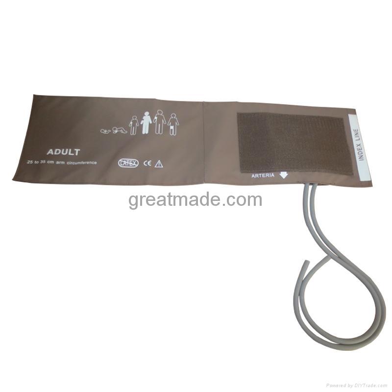 Adult soft dual tube NIBP cuff , 25-35cm Arm Circumference , Coffee 1