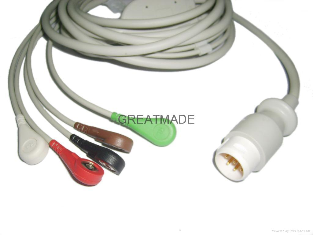 HP M1736A one piece 5-lead cable with leadwires  1