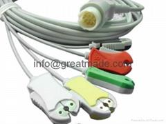 惠普12PIN 一体五导欧标夹式电缆及导联线