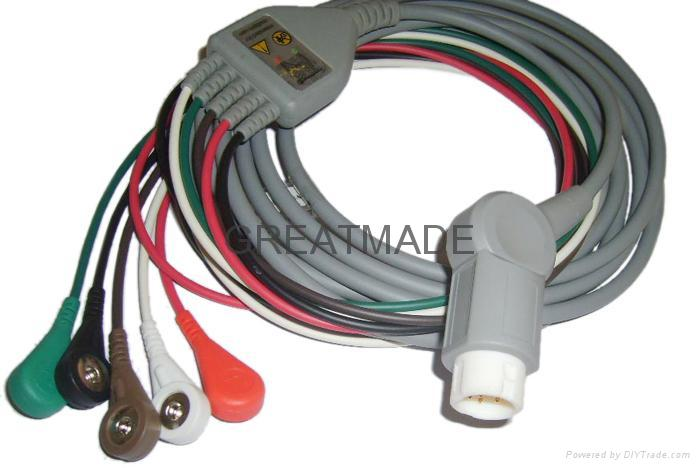 HP one -piece 5-lead AHA ,  cable with Snap leadwires  1