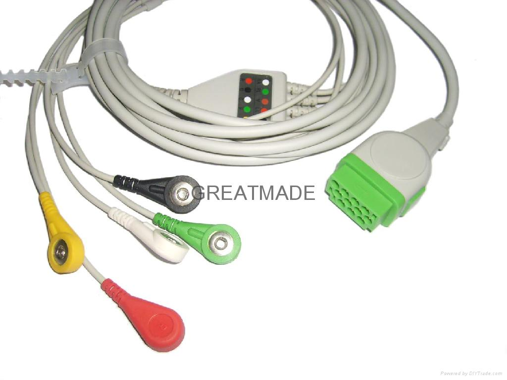 GE- Marquette one piece cable with 5-lead IEC Snap Leadwires  1