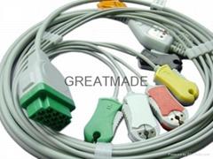 GE-馬葵一體式五導扣式歐標電纜及導聯線
