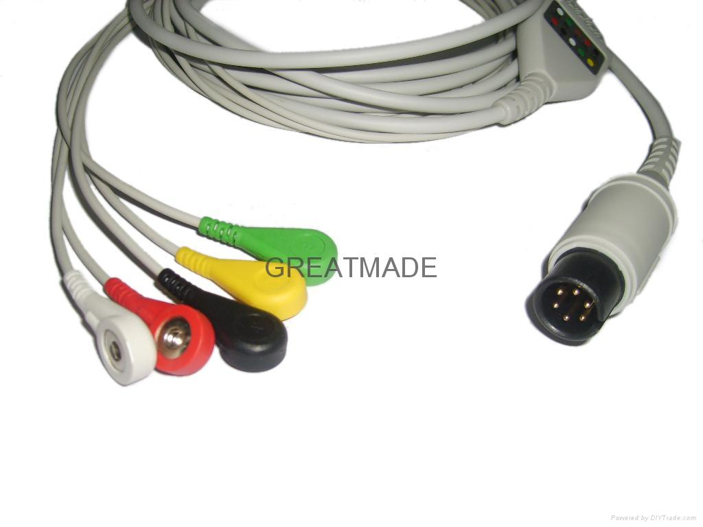 普通一体式直头电缆及五导欧标扣式导联线