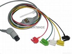 普通一体式弯头电缆及五导欧标夹式导联线