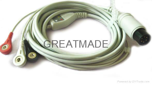 One piece cable with 3-lead ,AHA ,Snap Leadwires, straight  connector  1