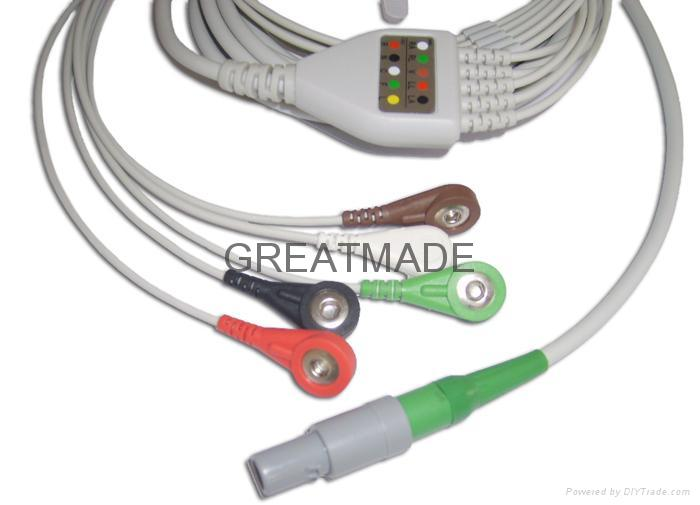 Creative one piece cable with 5-lead ,AHA ,Snap Leadwires, straight  connector  1