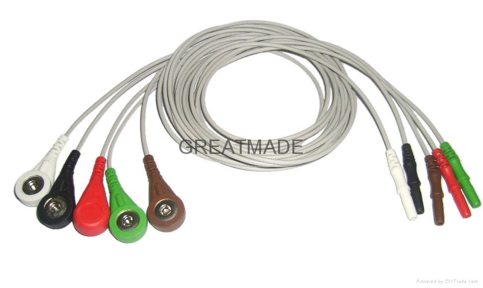 DIN Type 5-Lead AHA Leadwires  1