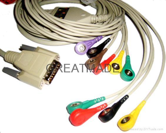 日本光電運動平板心電線,歐標,扣式 1